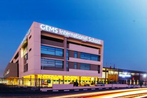 Larawan ng GEMS International School Al Khail sa gabi