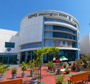 Photograph of GEMS Wellington International School in Dubai highlighting the Tier 1 architecture and premium grounds and setting.