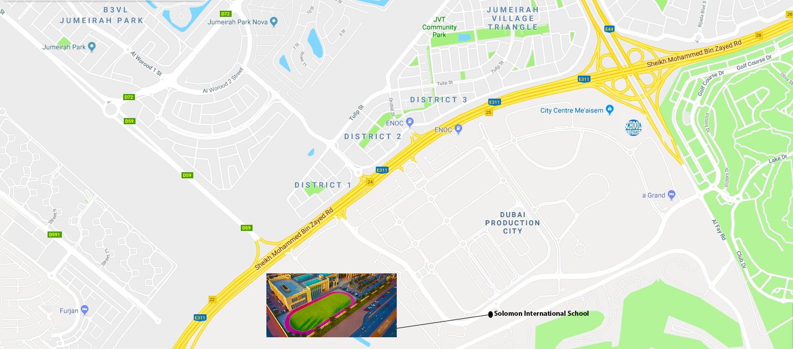 Map showing direction to and location of the planned Solomon International School due to open in Dubai in September 2018