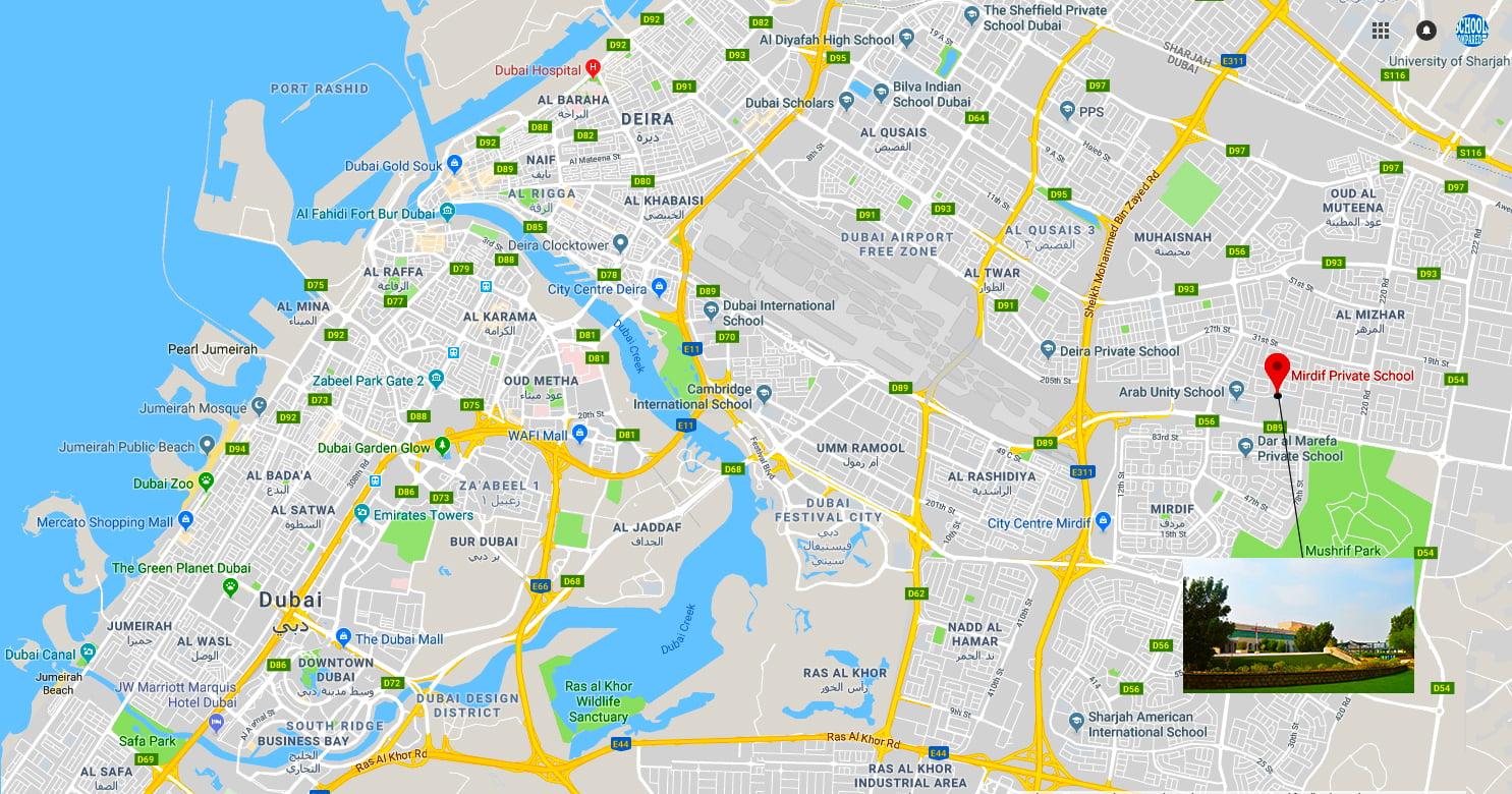 Mapa na nagpapakita ng lokasyon at mga direksyon sa Mirdif Pribadong Paaralan sa Dubai