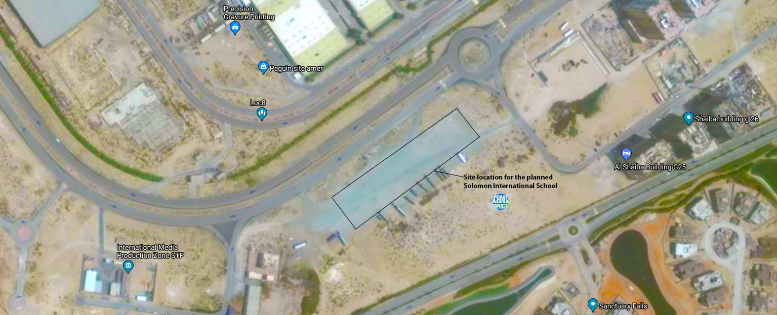 Site location aerial view of the planned Solomon International School Dubai
