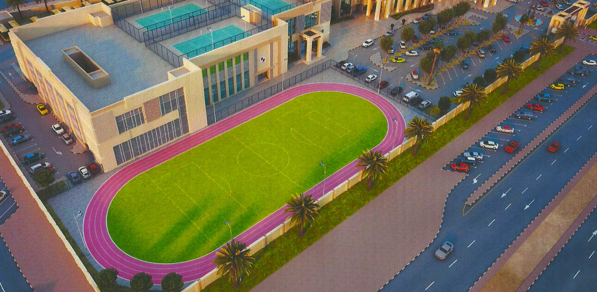 Roof top courts, running track and playing fields at the new Solomon International School planned for opening in Dubai in September 2018