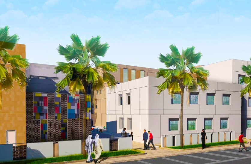 Rendered image showing attention to architectural detail in the plans for the new South View School in Dubai with Arabic styled coloured glass panels