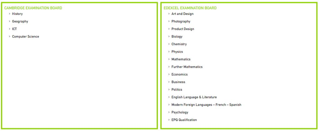 List of A level subject options at Al Mamoura Academy in Abu Dhabi