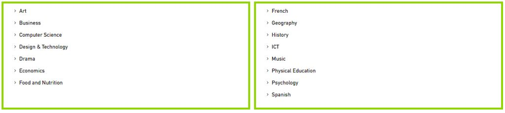 List of American High School Diploma subject options for students at Al Mamoura Academy in Abu Dhabi.