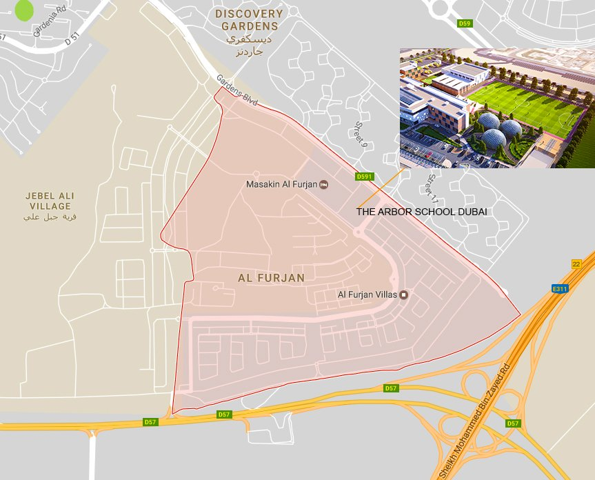 Map showing the location of the Arbor School in Dubai