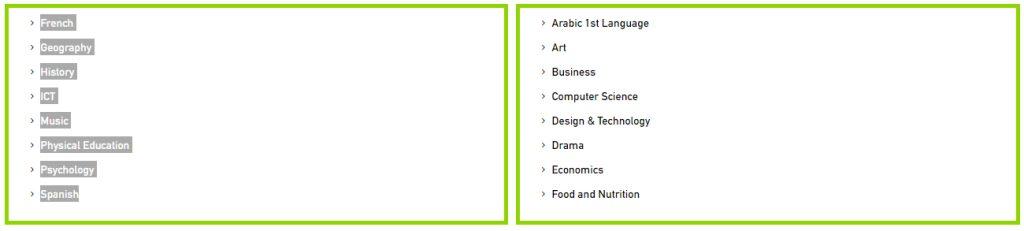 List of GCSE Subject Options at Al Mamoura Academy in Abu Dhabi