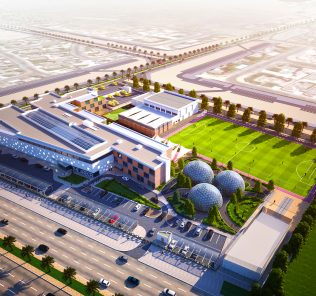 An aerial image of the Arbor School in Dubai showcasing the biodomes at the hub of school life