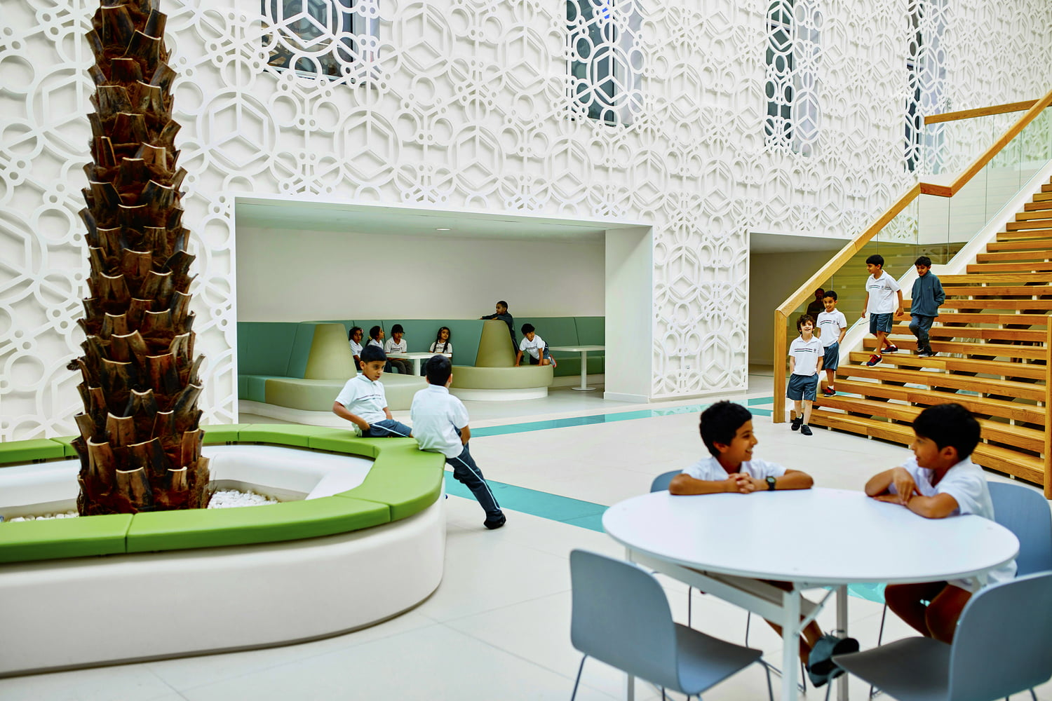 Photograph showing an example of the beautifully designed and open areas for children at The Sheikh Zayed Private Academy for Boys