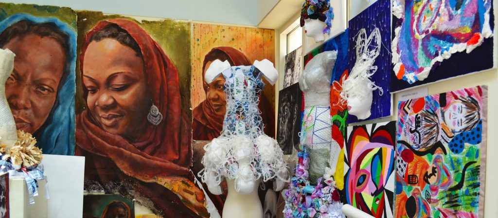A photograph of mixed media art works at The English College in Dubai