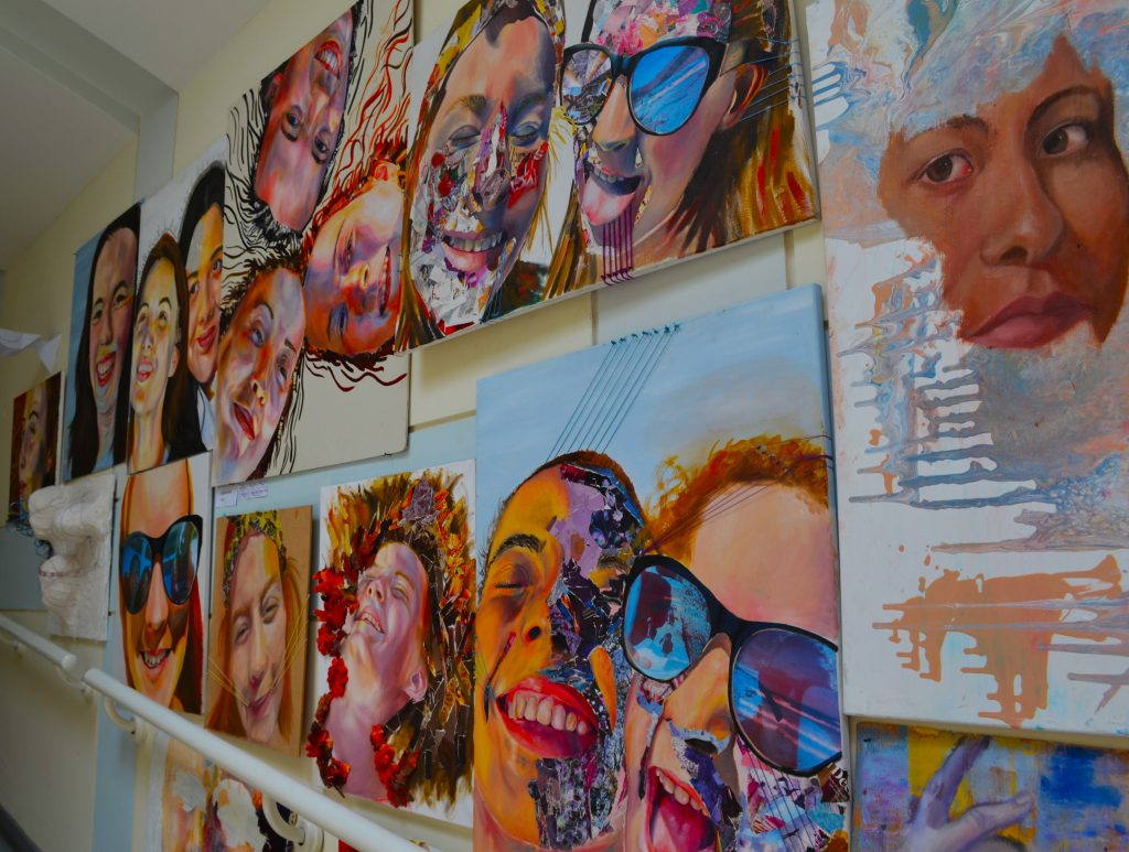 Extraordinary creativity through the study of Asrt at the English College in Dubai. This photograph shows one of many walls adorned with the art produced by children that utterley captivates your attention on visiting the school.