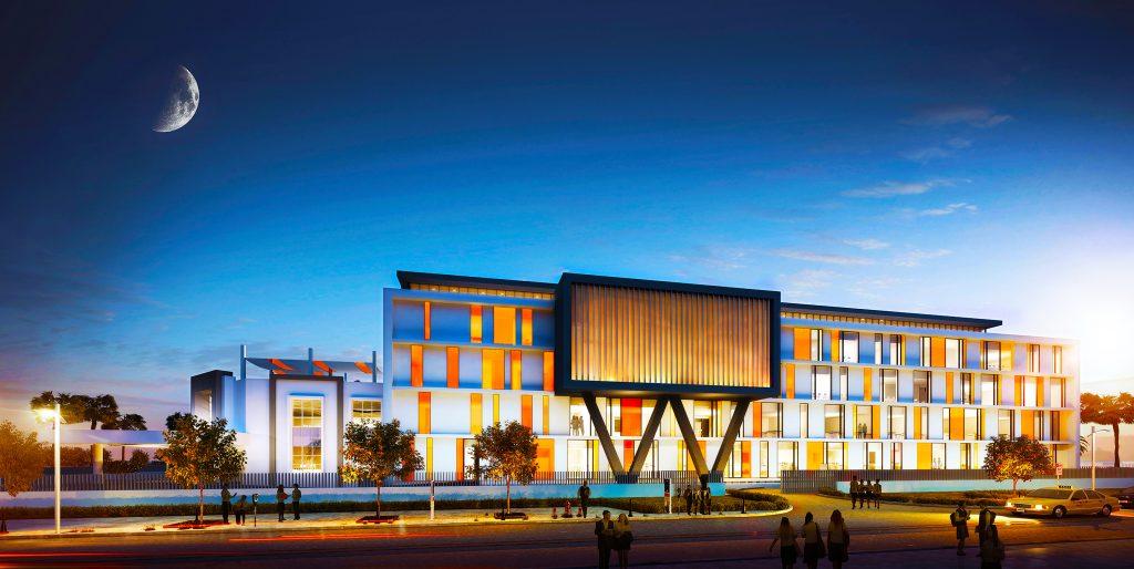 Fotografía y render arquitectónico de la nueva escuela en construcción para el English College en Dubai que se muestra por la noche
