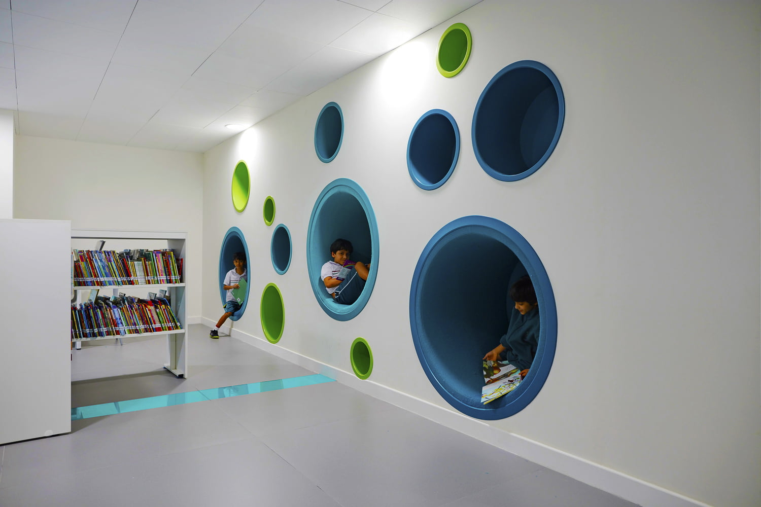 Cleverly designed independent reading areas built into walls at he Sheikh Zayed Private Academy for Boys in Abu Dhabi