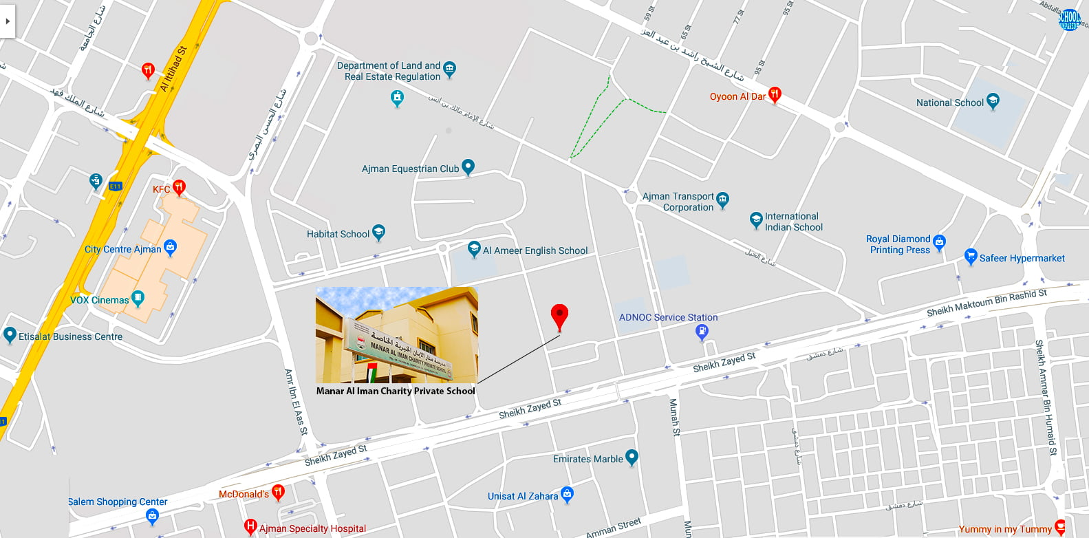 Map showing the location of Manar Al Iman Charity Private School in Ajman