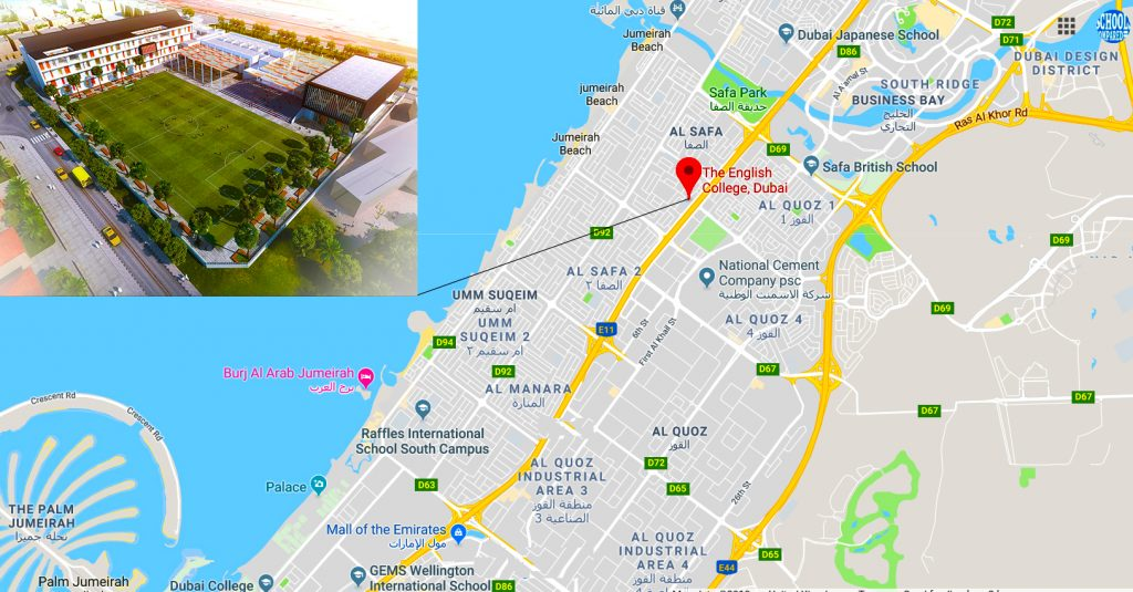 Map highlighting the location in Dubai of The English College