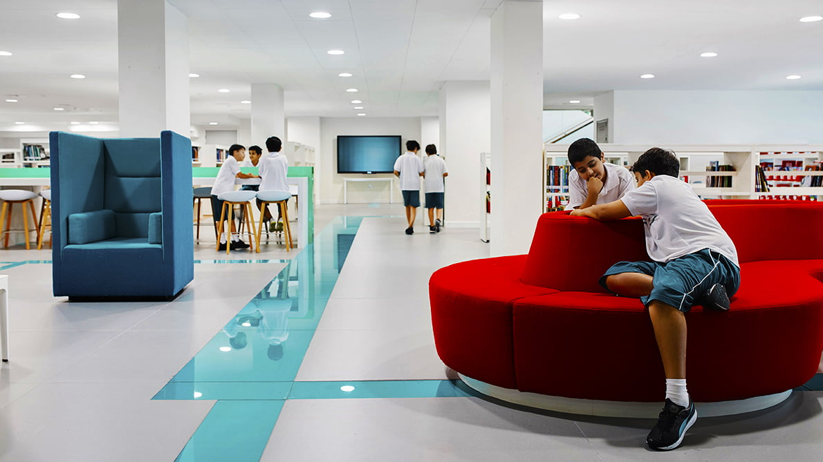Photograph higglighting the warmth built into the design of the Sheikh Zayed Private Academy for Boys in Abu Dhabi