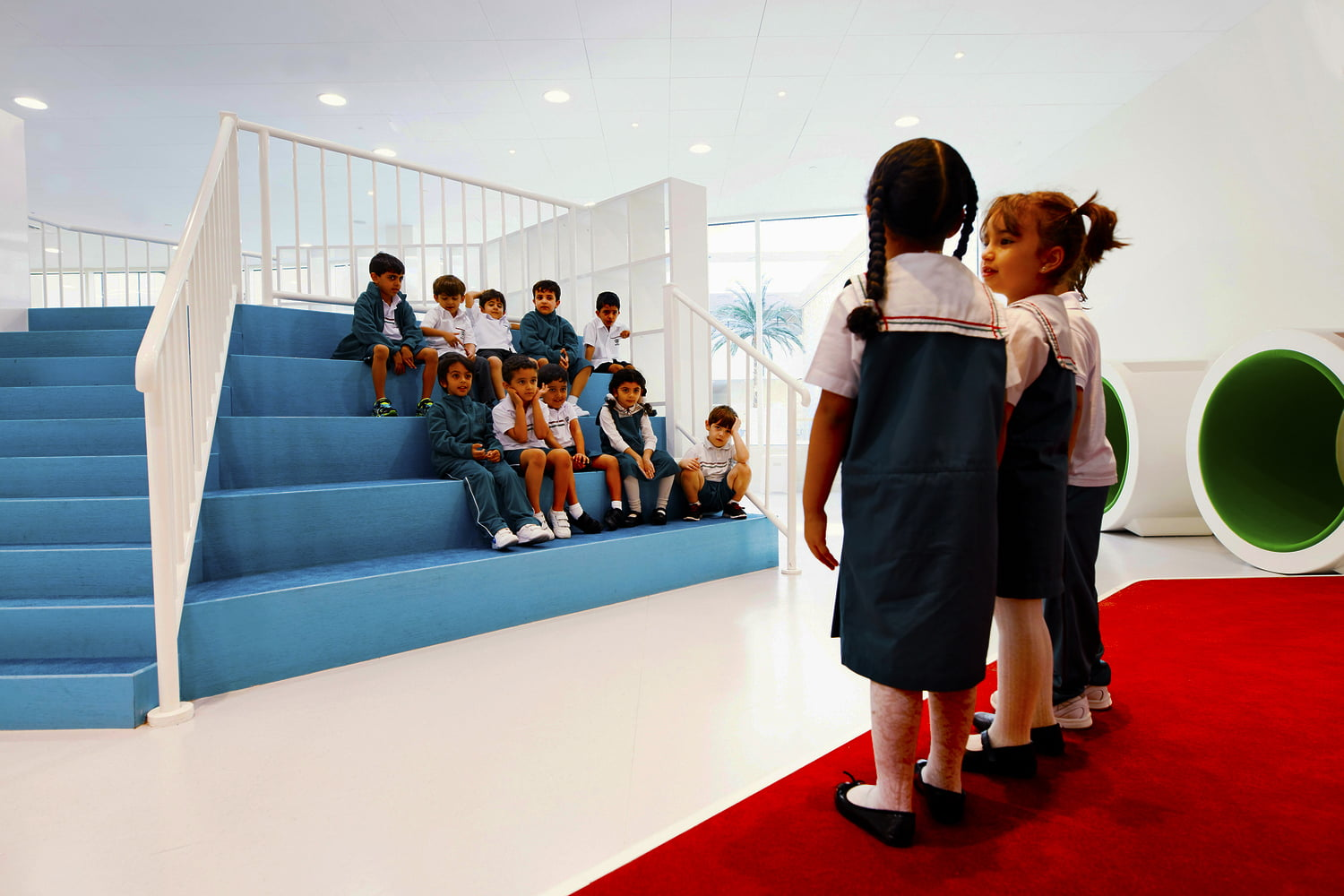 Photograph of young boys and girls at Sheikh Zayed Private School for Boys in Abu Dhabi