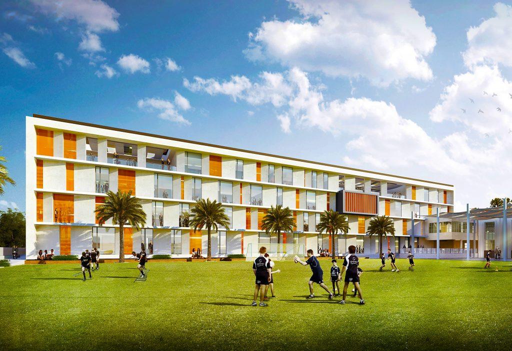 Fotografía del nuevo campus de English College Dubai destacando el enfoque en el deporte
