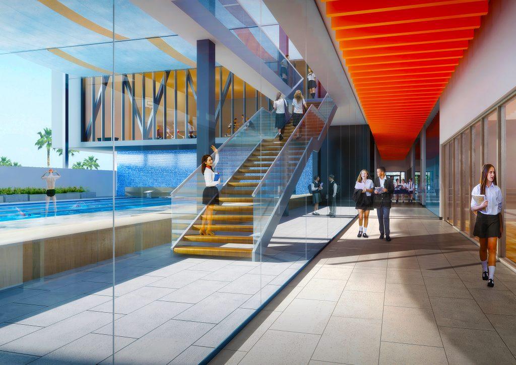 Render fotográfico del nuevo campus de English College en Dubai destacando la nueva piscina