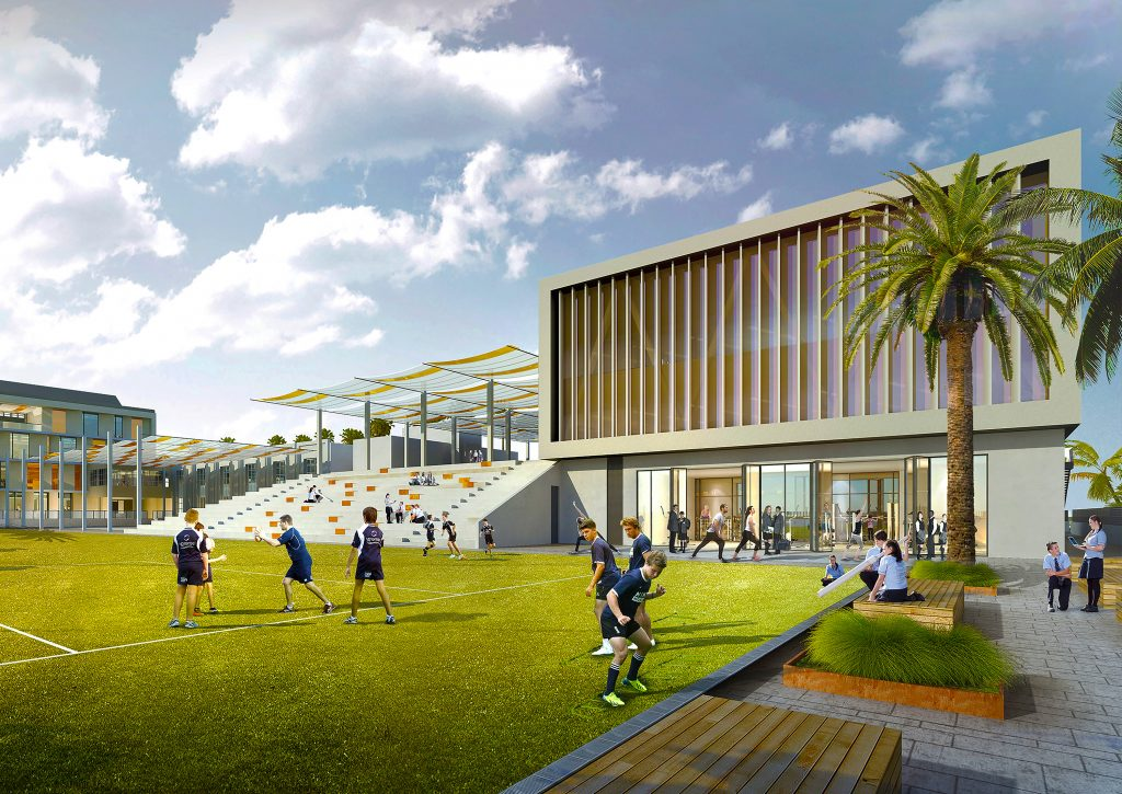 Another photograph of the planned nw campus of the English College in Dubai showcasing its extensive new investment in sport and grounds