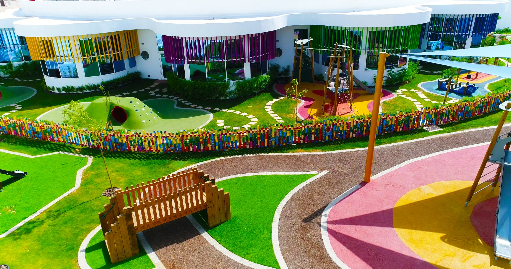Exterior landscaping has seen major investment at Dubai Heights Academy to create an inspirational learning environment for children and to aid accessibility for all children