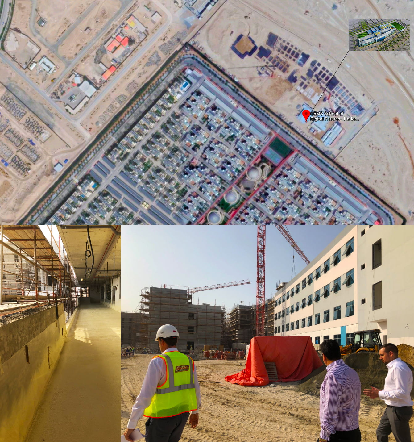 Images showing the progress of construction at GEMS school of Digital Futures in Dubai Sustainable City