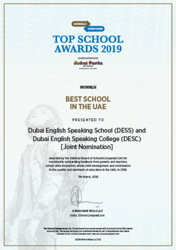 Die Dubai English Speaking School war der Gewinner der SchoolsCompared.com Best School im UAE Award 2019