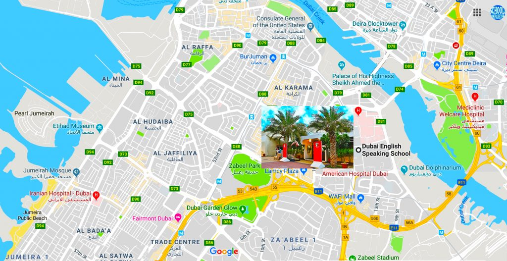Map showing the location of and directions to Dubai English Speaking School DESS in Dubai