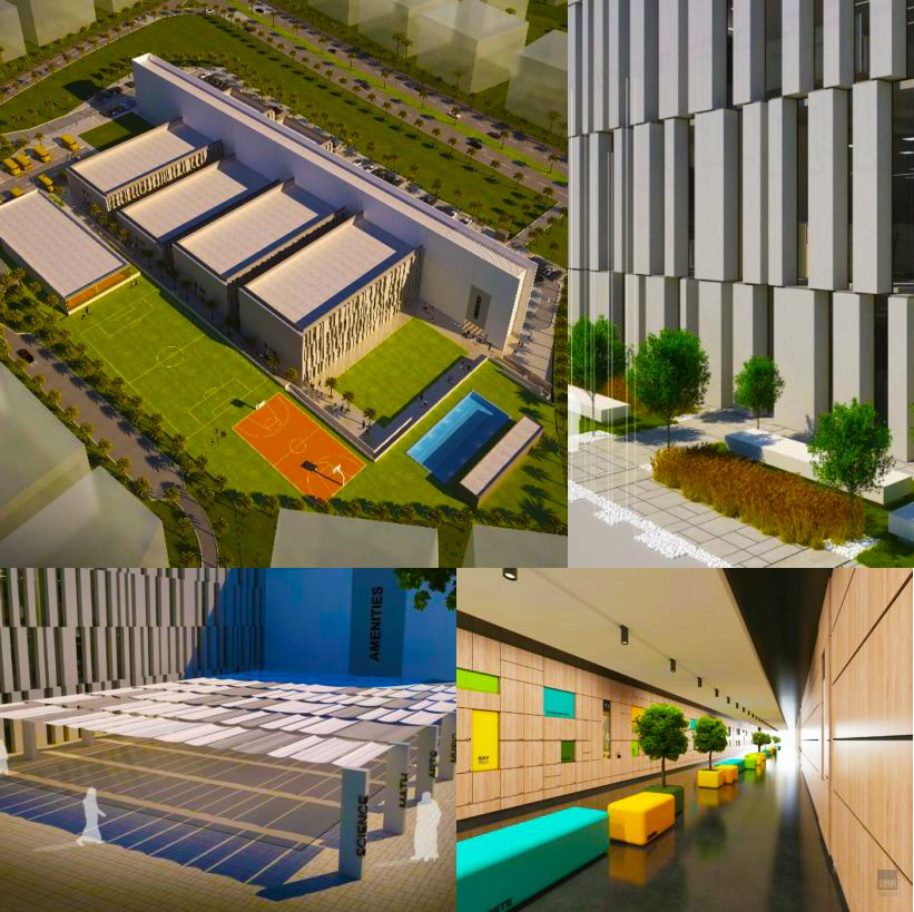 Images of the planned Ignite School in Dubai showing the interior and exterior of the building in a multitude of aspects