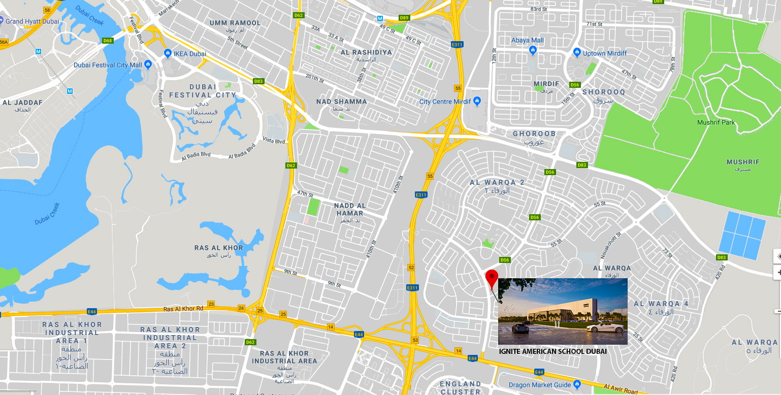 Map showing the location of Ignite School in Dubai