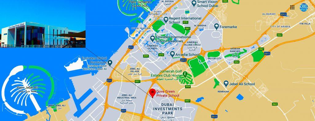 Ipinapakita ang mapa ng lokasyon ng at mga direksyon patungong Dove Green Private School sa Dubai