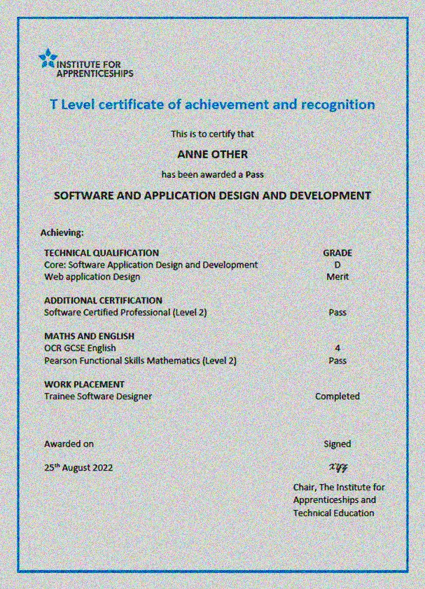 An example of a T-Level Certificate