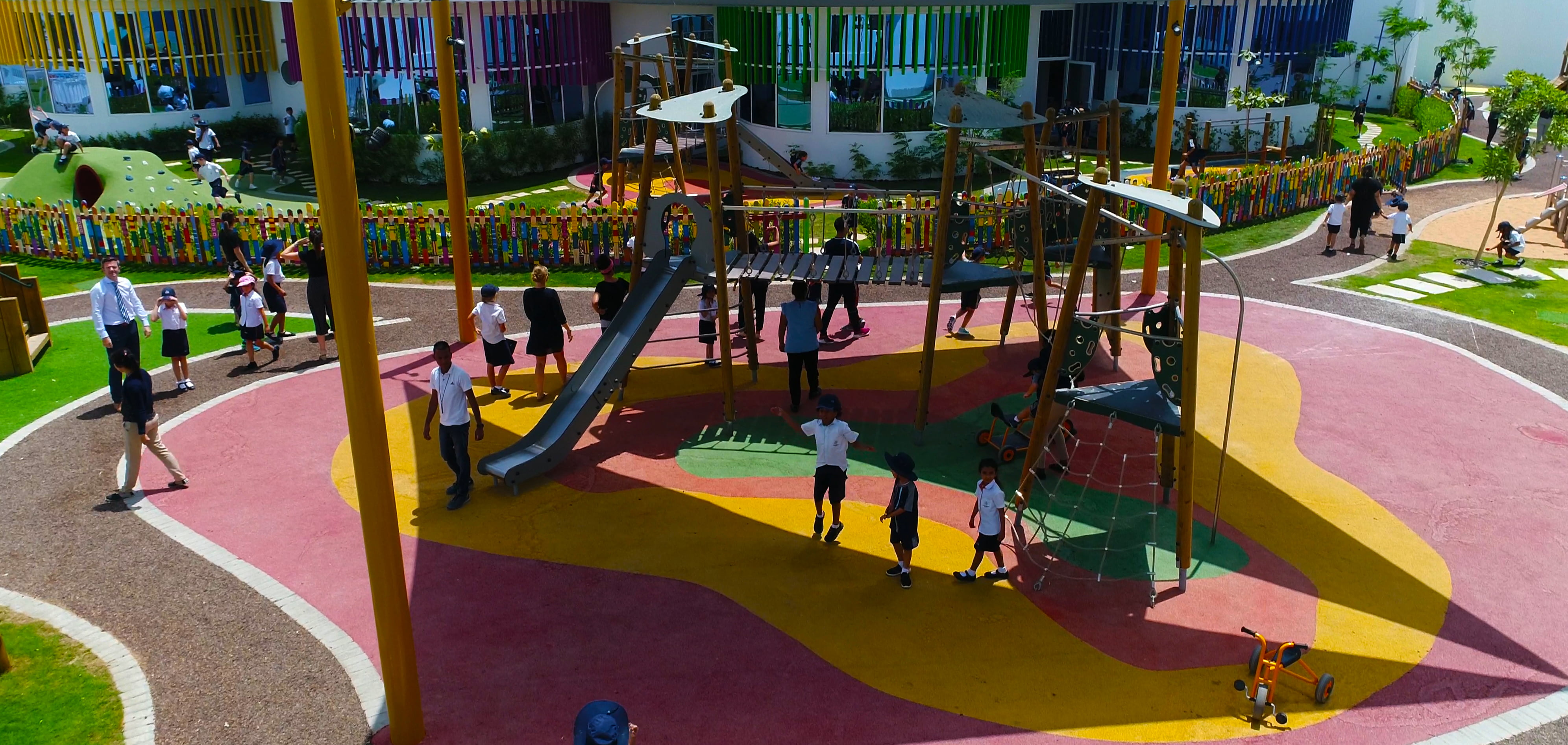 Aerial shot of the shaded playground area at Dubai Heights Academy School in Dubai