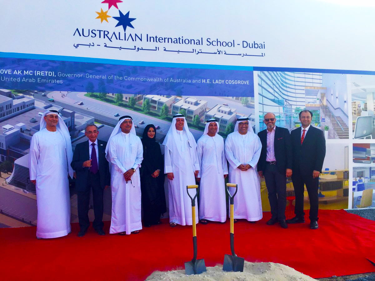 Photograph of the founder , Dr. Omar Jaffar, at the launch of the new Australian International School in Dubai to be based in Al Barsha