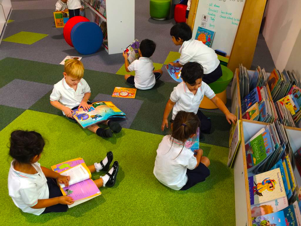 Children at Dubai Heights Academy school in the library