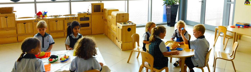 Photograph of children learning in outstandingly equipped classrooms at Kings' School Nad Al Sheba in Dubai