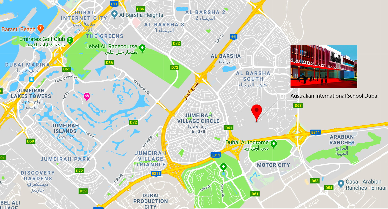 Map showing the location of the new Australian International School in Al Barsha Dubai