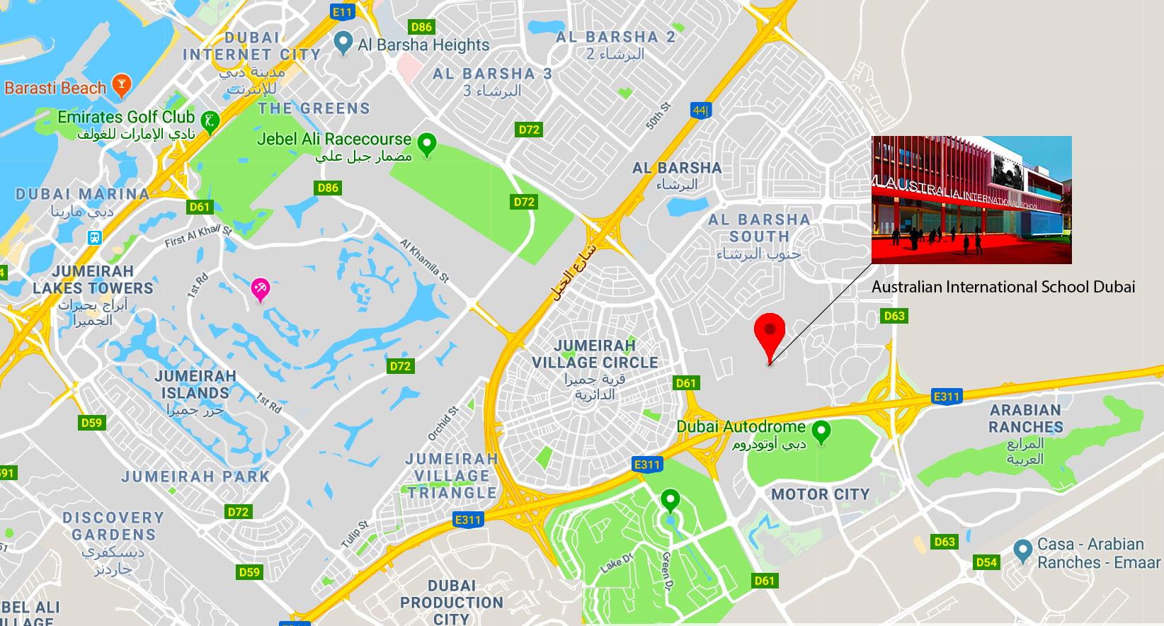 Ang mapa na nagpapakita ng lokasyon ng bagong Australian International School sa Al Barsha Dubai
