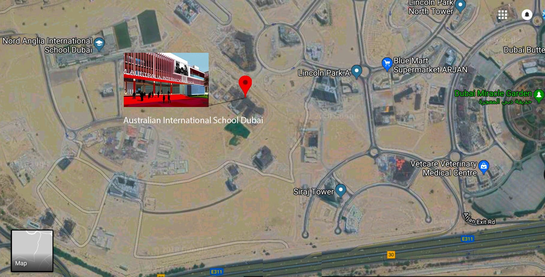 Ang imahe ng satellite na nagpapakita ng lokasyon ng site para sa pagbuo ng bagong Australain International School sa Al Barsha Dubai