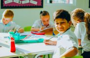 Photograpg of children learning in class at Dubai Heights Academy in Dubai taken in 2019. The English National Curriculum school is deeply committed to academic and SEND inclusion and welcome a broad mix of nationalities.