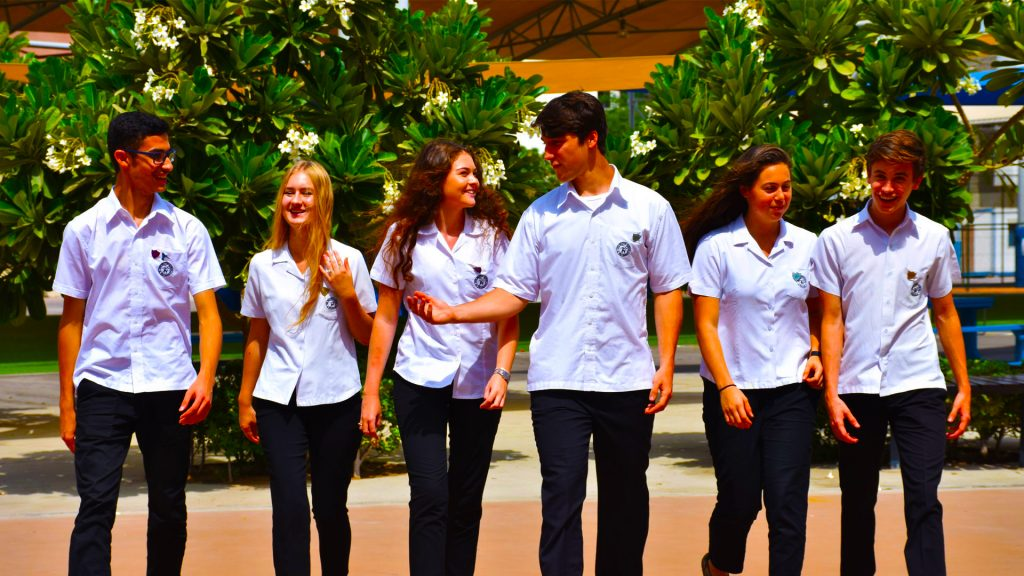 Photograph of Sixth Form students at the British School Al Khubairat in Abu Dhabi - award winning school for the outstanding quality of its post-16 education for students across A Level and BTEC