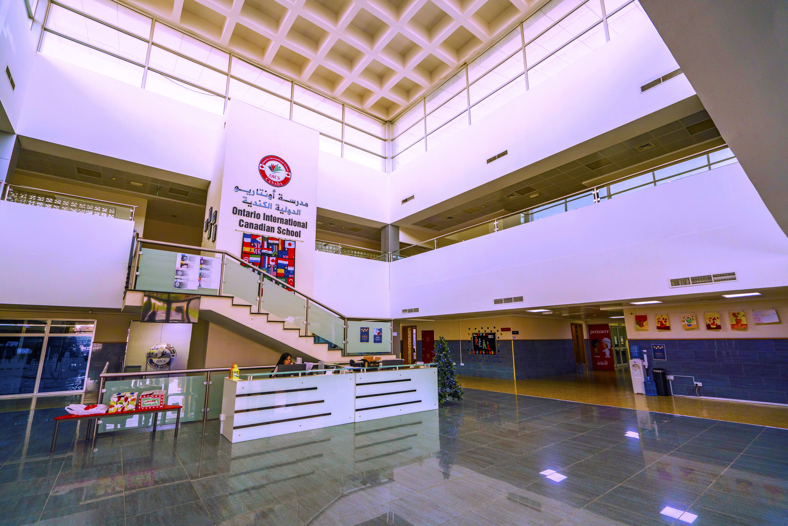 The entrance reception area and atrium at Ontario International Canadian School in Dubai