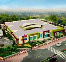 Aerial photograph of the purpose-built school buildings of the Future International Nursery in Dubai