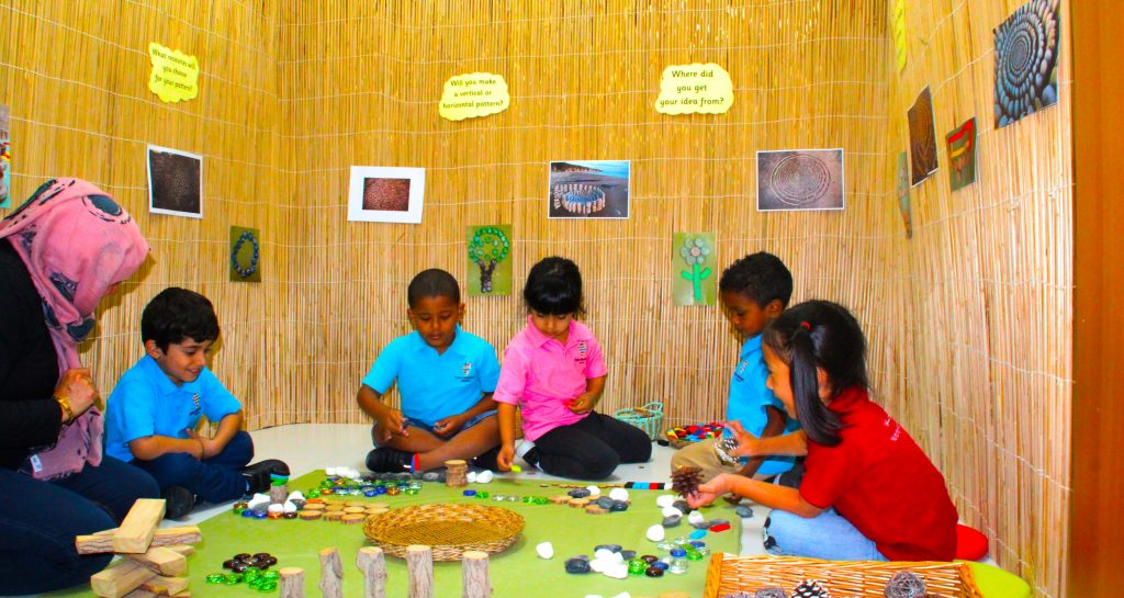 "A photograph of children learning within the unique ""Pattern Room""  at Future International Nursery Dubai."