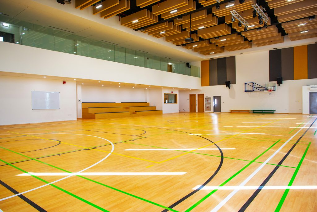 Photograph of landmark sports facilities at the British curriculum South View School in Dubai highlighting the multi-purpose Sports Hall