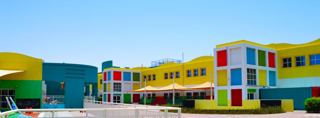Photograph showing the colourful buildings of The English College in Dubai