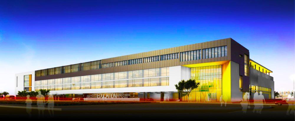 Exklusiver architektonischer Render der neuen Arcadia Academy-Sekundarschule, die im September 2020 in Dubai eröffnet wurde. Das Gebäude wurde im Dezember 2019 fertiggestellt und die Kinder werden ab September 2019 zunächst an der Arcadia Preparatory School in Dubai für das 7. Jahr begrüßt.