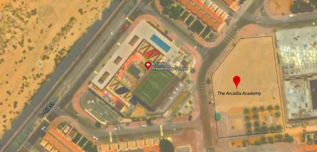 Satellite image showing the location of the new Arcadia Academy and proximity to the Arcadia Preparatory School in Dubai. The Academy will open in September 2020.