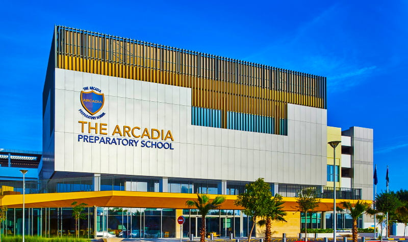 The main entrance to the Arcadia Preparatory School in Dubai