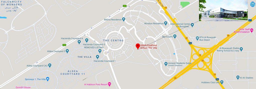 خريطة مفصلة للغاية توضح موقع واتجاهات مدرسة جيمس فيرست بوينت في دبي. GEMS Firstpoint هي المدرسة المحورية في مجتمع الفيلا